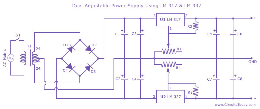 Dual Adjustable Variable Power Supply Circuit Using Lm317