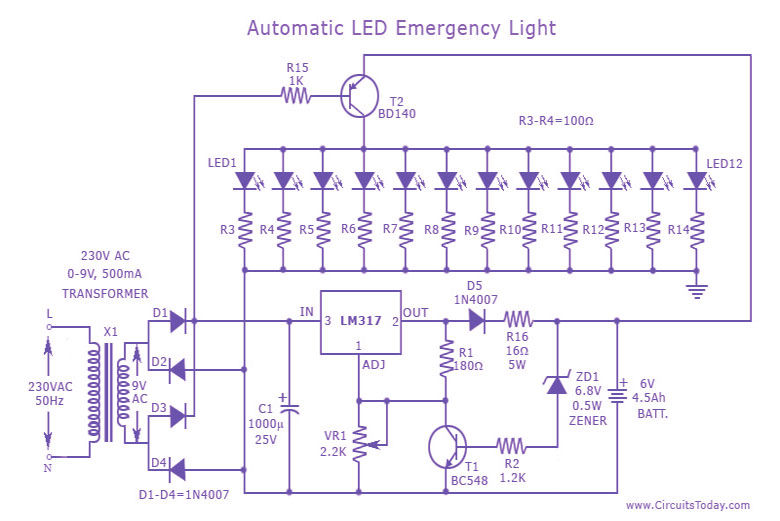 Diagram Likewise Emergency Light Circuit Diagram On 9 Volt ... on