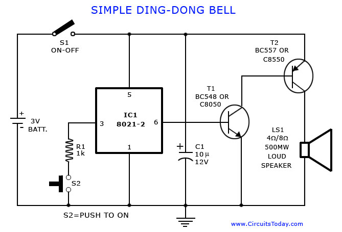 tone generator circuit simple calling bell circuit 3-Way Touch Lamp Switch 555 on off touch switch