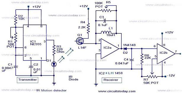 Infrared Motion Detector Circuit Ir Motion Sensor Circuit