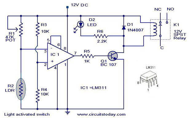 12v Led Flasher Circuit Diagram likewise Dark Detector additionally Day And Night Switch Wiring Diagram furthermore How To Make Light Activated Day Night together with Circuit Designing. on light activated relay with 555 ic