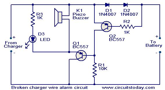 Broken charger wire alarm circuit Todays Circuits