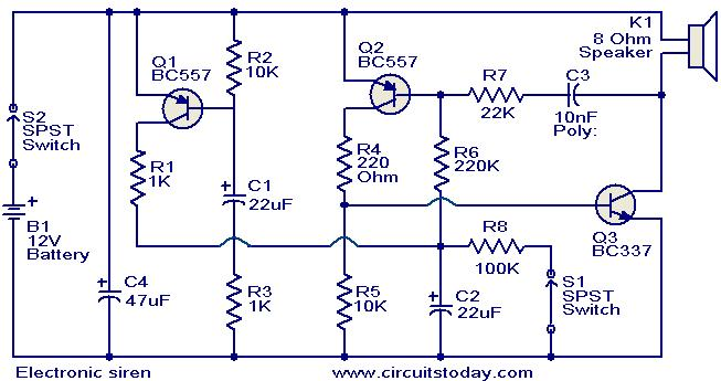 electronic siren circuit electronic circuits and. Black Bedroom Furniture Sets. Home Design Ideas