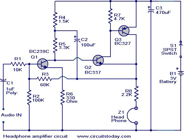 Head Phone Amplifier Circuit Electronic Circuits And