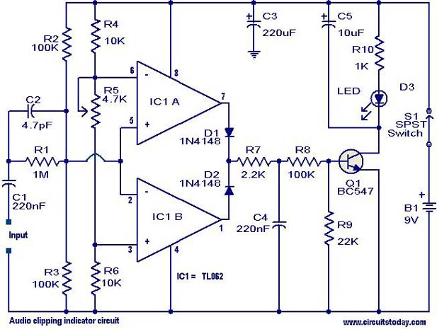 Audio Clipping Indicator Circuit Electronic Circuits And