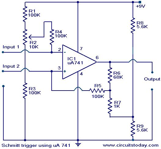 Schmitt Trigger Circuit Using Ic Ua 741 Electronic