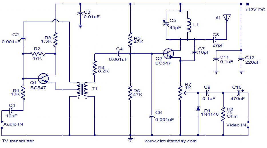 Tv Transmitter Circuit Using Only 2 Transistors   Operates From 12v