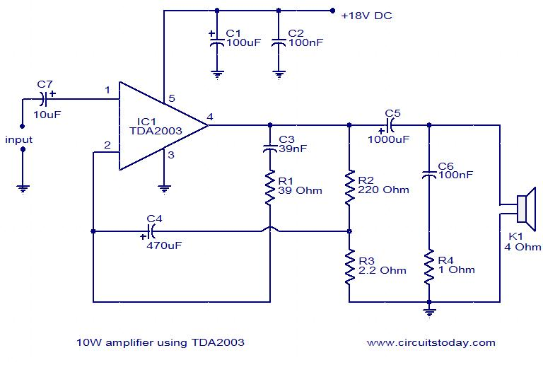 Tda2003 10w Amplifier A Diy Guide With Circuit Amp Pin Diagram