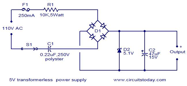 V Transformerless Powersupply on 12v To 120v Transformer Wiring Diagram