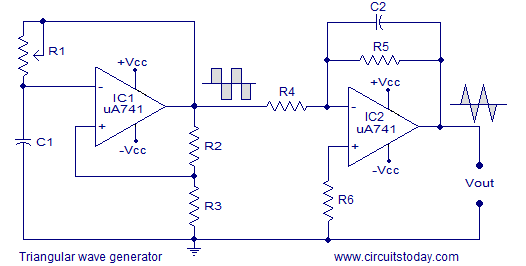 Triangular Wave Generator Using Opamp Circuit Diagram