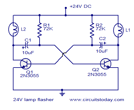 24v Flasher Circuit Electronic Circuits And Diagrams