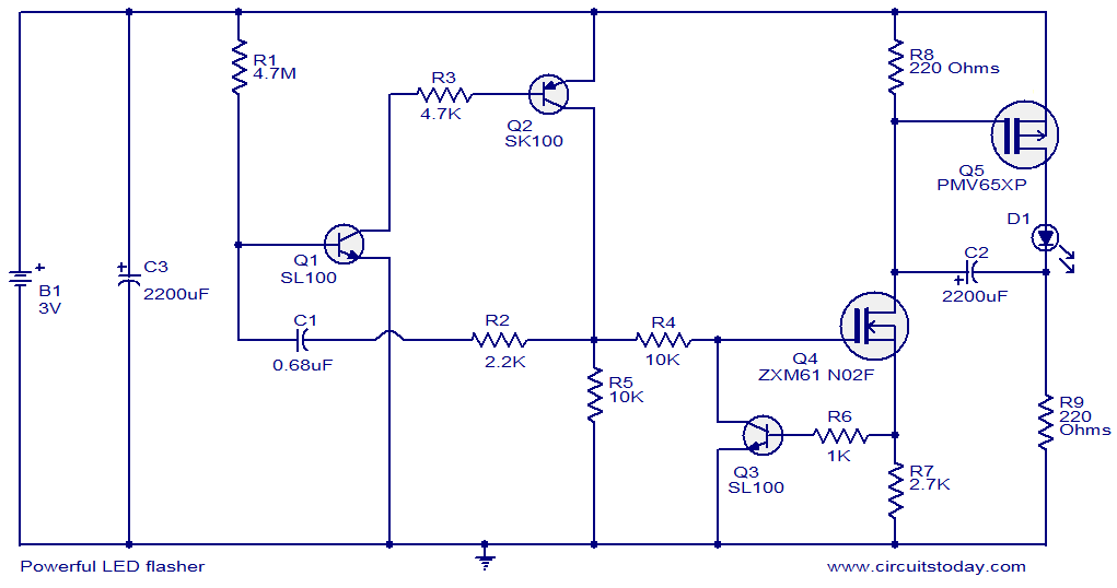 Powerful Led Flasher Electronic Circuits And Diagrams