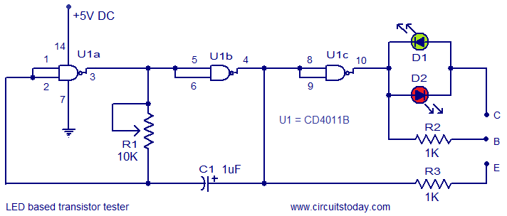 Led Based Transistor Tester Circuit on Lcd Tv Schematic Diagram