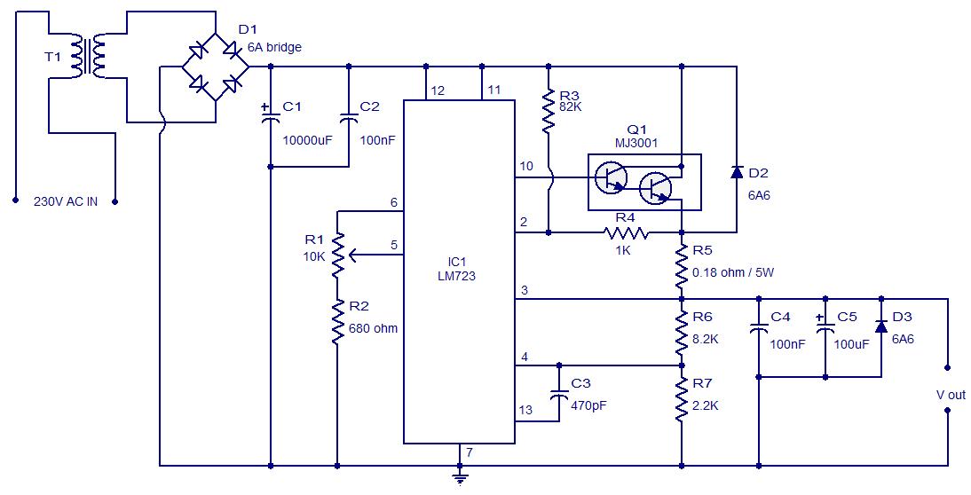 30V / 3A adjustable regulator using LM723 - Electronic ...