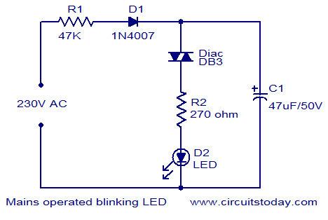 Mains Operated Blinking Led Electronic Circuits And