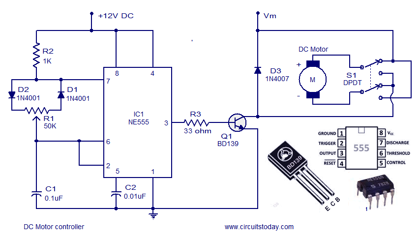 dc motor speed controller circuit using ne555