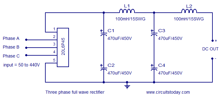 Three Phase Rectifier Circuit Based On 20l6p45