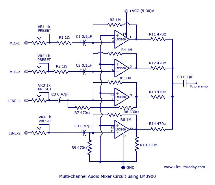 Multi Channel Audio Mixer Using Lm3900 on tone control preamp schematic