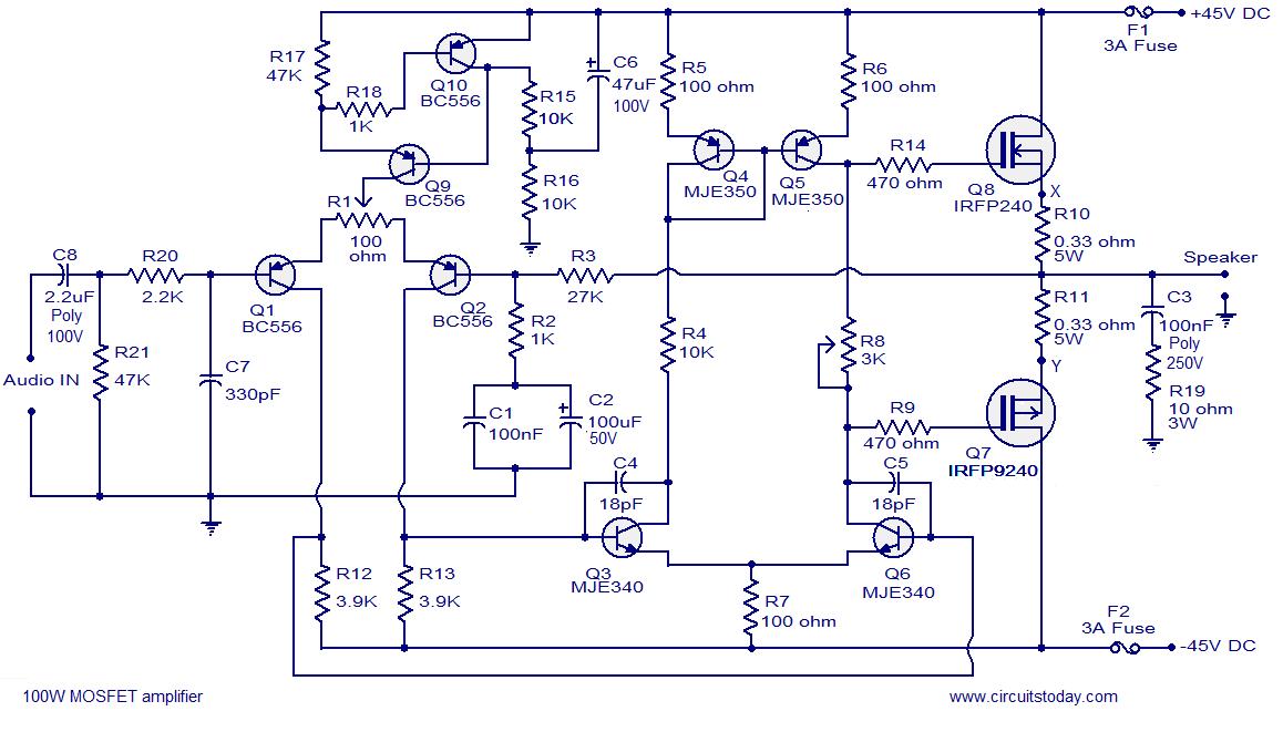 MOS FET Power Amplifier Circuit Diagram