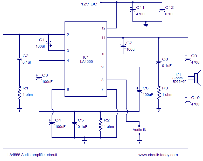 Stereo Audio  lifier Circuit Diagram on 1000w power lifier circuit diagram