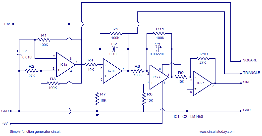 Square Wave Generator using Op Amp Electronic Circuits