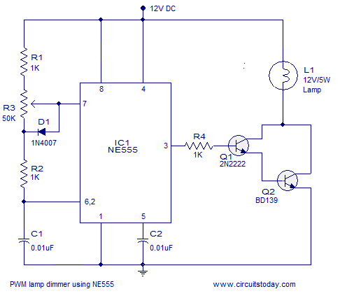 Pwm Lamp Dimmer Using Ne555 Timer Ic Complete Circuit