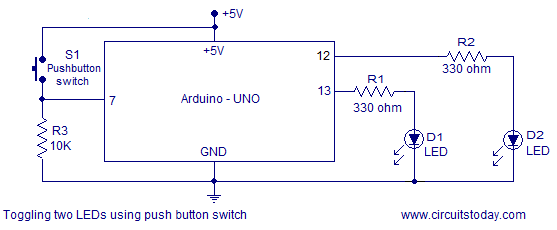 Simple led based projects using arduino with circuit