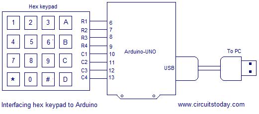 Interfacing Hex Keypad To Arduino Full Circuit Diagram