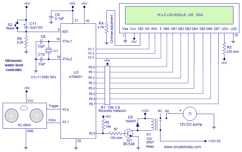 Ultrasonic Water Level Controller Using 8051 Measures
