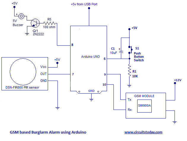 arduino burglar alarm using pir sensor with sms alarm. Black Bedroom Furniture Sets. Home Design Ideas